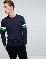 Only And Sons Sweatshirt With Multi Arm Stripe Night Sky Navy