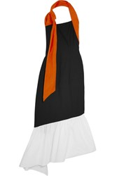 Isa Arfen Asymmetric Linen Trimmed Color Block Cotton Blend Dress Black