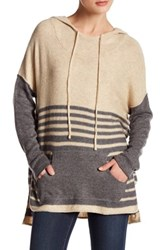 Love Stitch Striped Raglan Sleeve Hoodie Gray