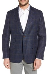 Flynt Big And Tall Classic Fit Windowpane Linen Blend Sport Coat Navy