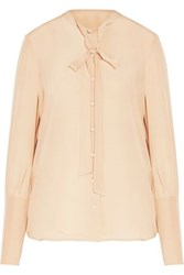 Belstaff Lucy Pussy Bow Washed Silk Top Blush