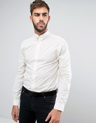 Noose And Monkey Skinny Shirt With Gold Spot Collar Bar Gold White