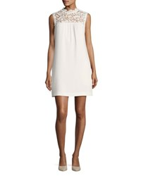 Theory Aronella Elevate Crepe Lace Yoke Dress White