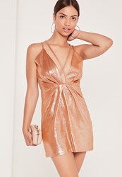 Missguided Strappy Foiled Faux Suede Bodycon Dress Nude Beige