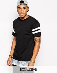 Reclaimed Vintage T Shirt With Longline And Printed Silky Hem Black