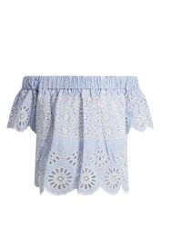 Sea Off The Shoulder Striped Broderie Anglaise Top Blue White