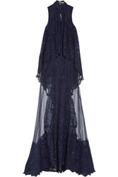 Jonathan Simkhai Layered Embroidered Tulle Gown Navy