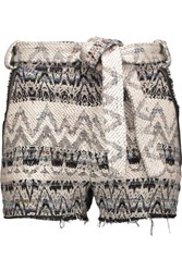 Iro Silvery Tie Front Boucle Knit Shorts Gray