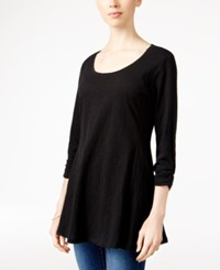 Styleandco. Style Co. Burnout Knit Top Only At Macy's Deep Black