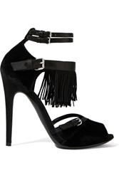 Giambattista Valli Suede Trimmed Velvet Sandals Black