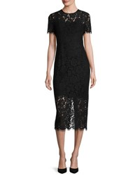 Diane Von Furstenberg Carly Short Sleeve Lace Midi Dress Black