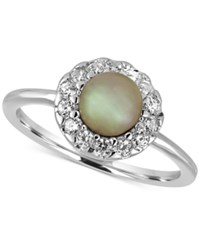 Majorica Sterling Silver Imitation Pearl And Crystal Ring