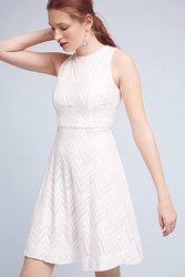 Anthropologie Devereaux Chevron Dress White