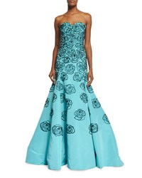 Oscar De La Renta Strapless Sequin Embroidered Faille Gown Bright Blue