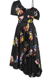 Preen By Thornton Bregazzi Irene Asymmetric Floral Print Silk Satin Dress Black