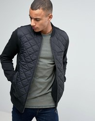 Esprit Quilted Bomber Jacket With Jersey Sleeves Black 001