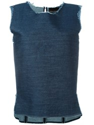Erika Cavallini 'Deval' Frayed Denim Sleeveless Tank Blue