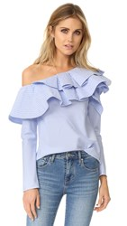 Stylekeepers Ruffle One Shoulder Top Blue Stripe