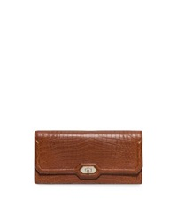 Michael Kors Harlington Embossed Leather Clutch Saddle