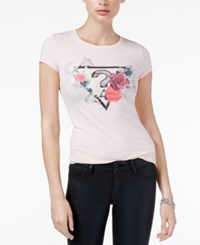 Guess Logo Graphic T Shirt Faded Pink