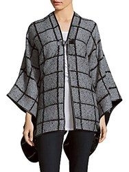 Calvin Klein Check Pattern Front Close Shawl Black
