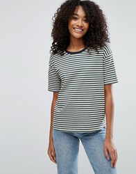 Asos T Shirt In Sporty Stripe And Boxy Fit Multi