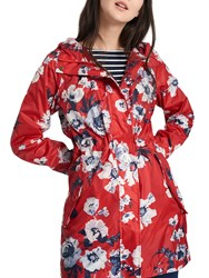 Joules Right As Rain Golightly Pack Away Waterproof Parka Red Posy