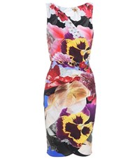 Roberto Cavalli Floral Printed Stretch Wrap Dress Multicoloured