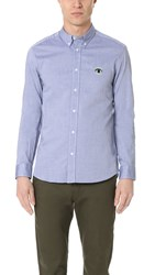 Kenzo Melange Cotton Long Sleeve Oxford Shirt Midnight Blue