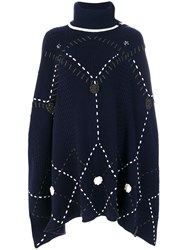 Michel Klein Knit Large Stitch Poncho Wool Cashmere Blue