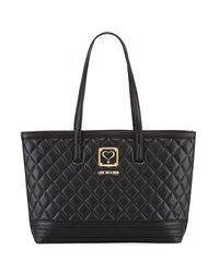 Love Moschino Napa Quilted Faux Satchel Bag Black