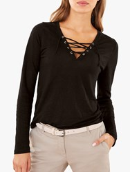 Pure Collection Linen Jersey Top Black