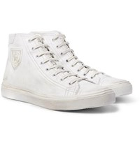 Saint Laurent Bedford Distressed Leather High Top Sneakers White