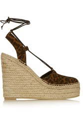 Saint Laurent Leopard Print Suede Wedge Espadrilles Animal Print