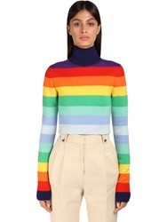 Paco Rabanne Rainbow Stripe Wool Blend Knit Sweater Multicolor
