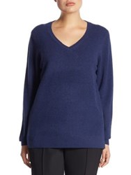 Saks Fifth Avenue Collection V Neck Cashmere Knitted Sweater Robin Blue Ivory Lavender Nightfall Light Pink Ebo