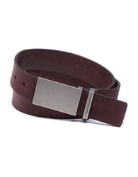 Calvin Klein Leather Flat Strap Plaque Buckle Belt Brown