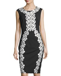 Jax Lace Applique Midi Cocktail Sheath Dress Black