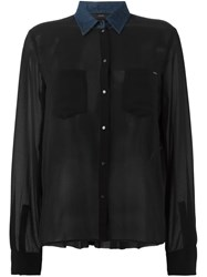 Diesel Denim Collar Sheer Shirt Black