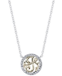 Unwritten Initial 'J' Pendant Necklace With Crystal Pave Circle In Sterling Silver And Gold Flash Two Tone