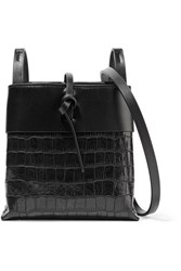 Kara Nano Tie Matte And Croc Effect Patent Leather Shoulder Bag Black