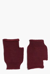 Boohoo Lois Fingerless Soft Knit Mittens Wine