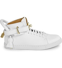 Buscemi Gold Clasp Mid Top Leather Trainers White