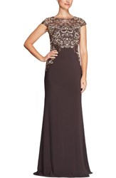 Alex Evenings 'S Embroidered Column Gown Mocha Multi