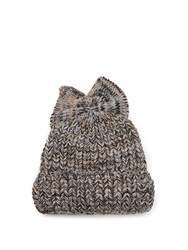 Federica Moretti Bow Embellished Ribbed Knit Beanie Hat Grey Multi