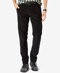 Dockers Men's Alpha Khaki Flat Front Slim Fit Corduroy Pants Black