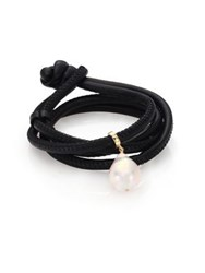 Mizuki 20Mm White Baroque Pearl 14K Yellow Gold And Leather Choker Necklace Black