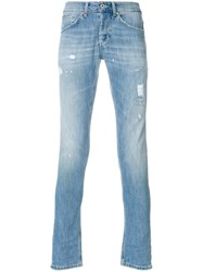 Dondup Slim Fit Ripped Jeans Cotton Polyester Blue