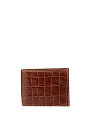 Neiman Marcus Boxed Alligator Embossed Leather Bifold Wallet Cognac