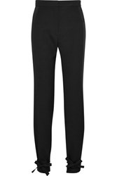 Pallas Satin Trimmed Wool Crepe Tapered Pants Black